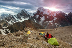 High Altitude Camp Changing Weather Royalty Free Stock Image