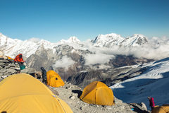 High Altitude Camp of Mountain Expedition Royalty Free Stock Image