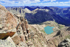 High altitude clear alpine lakes in the Rocky Mountains, as viewed from a mountain summit above. Stock Photos