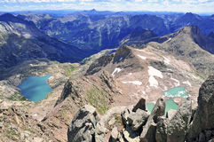 High altitude clear alpine lakes in the Rocky Mountains, as viewed from a mountain summit above. Royalty Free Stock Photos