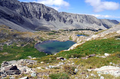 High altitude clear alpine lakes in the Rocky Mountains, as viewed from a mountain summit above. Royalty Free Stock Image