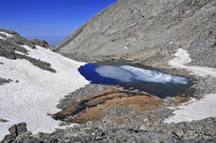 High altitude clear alpine lakes in the Rocky Mountains, as viewed from a mountain summit above. Stock Photo