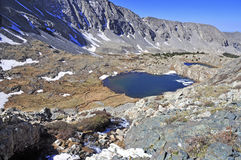 High altitude clear alpine lakes in the Rocky Mountains, as viewed from a mountain summit above. Stock Image