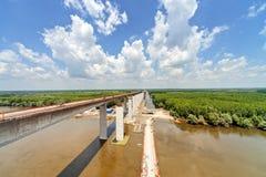 High altitude concrete bridge Stock Images