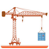 High-altitude crane with a container background abstract Vector Royalty Free Stock Photography