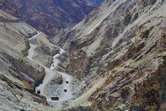 High-altitude curvy road in the Himalayas Stock Photos