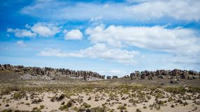 High altitude flowing stream in harsh barren landscape with scenic dramatic sky. Wide angle view from above at 4000 m on the Andea Royalty Free Stock Images
