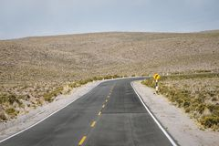 High altitude highway. Turn in Peru stock image