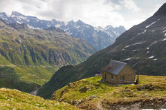 High altitude hut, Switzerland Royalty Free Stock Images