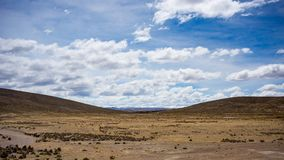 High altitude landscape with harsh barren landscape and scenic dramatic sky. Wide angle view from above at 4000 m on the Andean hi Stock Photography