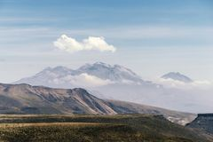 High altitude landscape. With lonely cloud in Peru royalty free stock photography