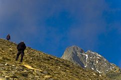 High Altitude Mountain Climbers Stock Image