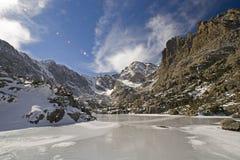 High altitude mountain lake. Sky Pond lies frozen beneath the continental divide royalty free stock photos