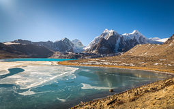 High altitude mountain lake in North Sikkim, India. Royalty Free Stock Photography
