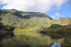 High altitude mountain landscape with natural lake Royalty Free Stock Images