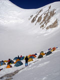 High-altitude mountaineers camp Stock Image