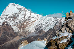 High Altitude Mountains Landscape Rock Snow and majestic Summit Royalty Free Stock Photos