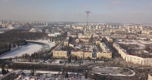 Aerial view of the center of Minsk stock footage
