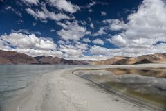 High altitude Pangong lake in mountains of. High altitude Pangong lake in mountains of Ladakh, North India. Version 2 Royalty Free Stock Photography
