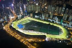 Happy Valley nignt view. High-altitude photography at Happy Valley Racecourse stock images