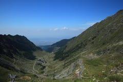 High altitude road. Transfagarasan, the road at the highest altitude in Romania. Photo taken from Bâlea Lake, Sibiu county, Romania stock photography