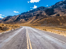 High altitude Road. Road in high altitude in Peru Stock Photos