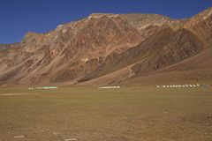 High Altitude Tents. Tented tourist camps on the high altitude Lingani plains at Sarchu (4200m) on the Manali to Leh mountain road. Ladakh, India royalty free stock photo