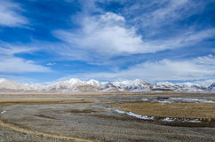 High altitude Tibetan plateau and cloudy sky at Qinghai province Royalty Free Stock Photo