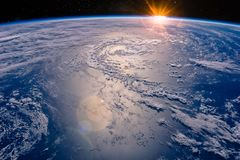 High altitude view of the Earth in space. Elements of this image furnished by NASA stock image