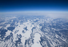High altitude view of the frozen tundra in Arctic Royalty Free Stock Image