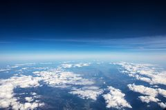 High altitude view between sky and space , in to the dark. Sky view plane Stock Photography