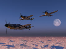 High altitude WWII fighter planes. Digital render of Luftwaffe Messerschmitt fighter aircraft over clouds at sunset Stock Image