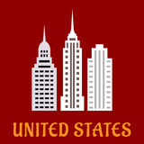 High american skyscrapers flat icons Royalty Free Stock Photography