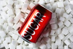 High amount of sugar in beverages royalty free stock image
