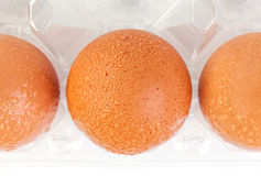 High angel shot of brown eggs and water drops in plastic package Stock Photo