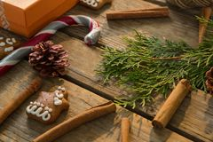 High angel view of Christmas decoration with spice. High angle view of Christmas decoration with spice on wooden table royalty free stock photos