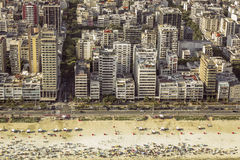 High angle aerial view of Ipanema Beach in Rio de Janeiro Royalty Free Stock Images