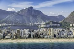 High angle aerial view of Ipanema Beach in Rio de Janeiro Royalty Free Stock Photography