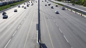 High angle with backlighted shot of highway number one traffic Royalty Free Stock Photography