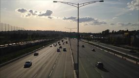 High angle with backlighted shot of highway number one traffic Stock Images