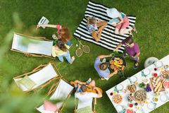 High angle of barbecue party stock photo
