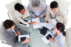 High angle of business people shaking hands Royalty Free Stock Photography