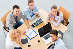 High angle of business people at table stock images