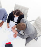High angle of Business people working together Royalty Free Stock Image