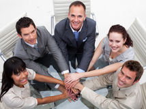 High angle of business team with hands together. Concept of teamwork Stock Photo