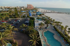 High angle of clearwater beach and pool Royalty Free Stock Photos