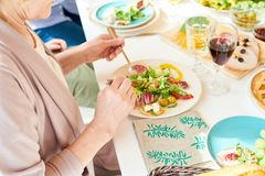 Senior Woman Eating Salad stock image