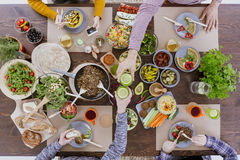 High angle, colorful vegetable dishes Stock Images