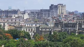 Dolly High Angle Establishing Shot of Old Buildings in Havana Cuba. 8795 A high angle daytime establishing shot of old buildings near the Havana Port Bay in Cuba stock footage