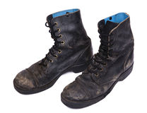 Isolated Used Army Boots - High Angle Diagonal Stock Images